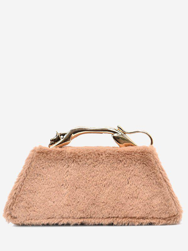 Metal Handle Faux Fur Handbag - KHAKI