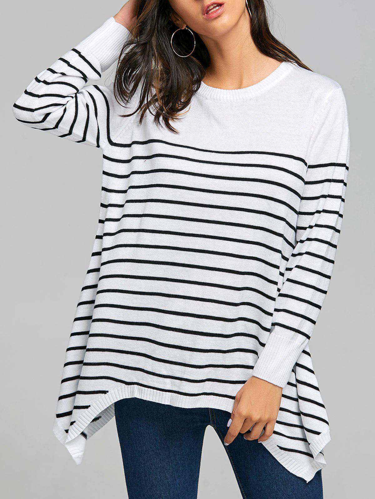 Striped Loose Fitting Asymmetrical Knitwear - WHITE XL