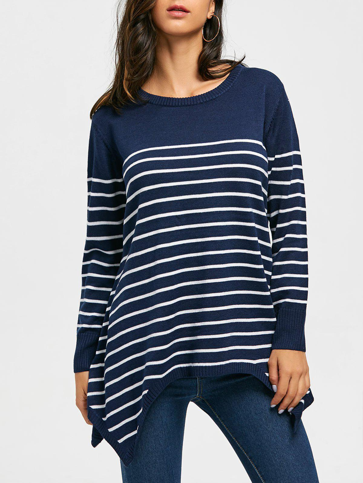 Striped Loose Fitting Asymmetrical Knitwear - BLUE L