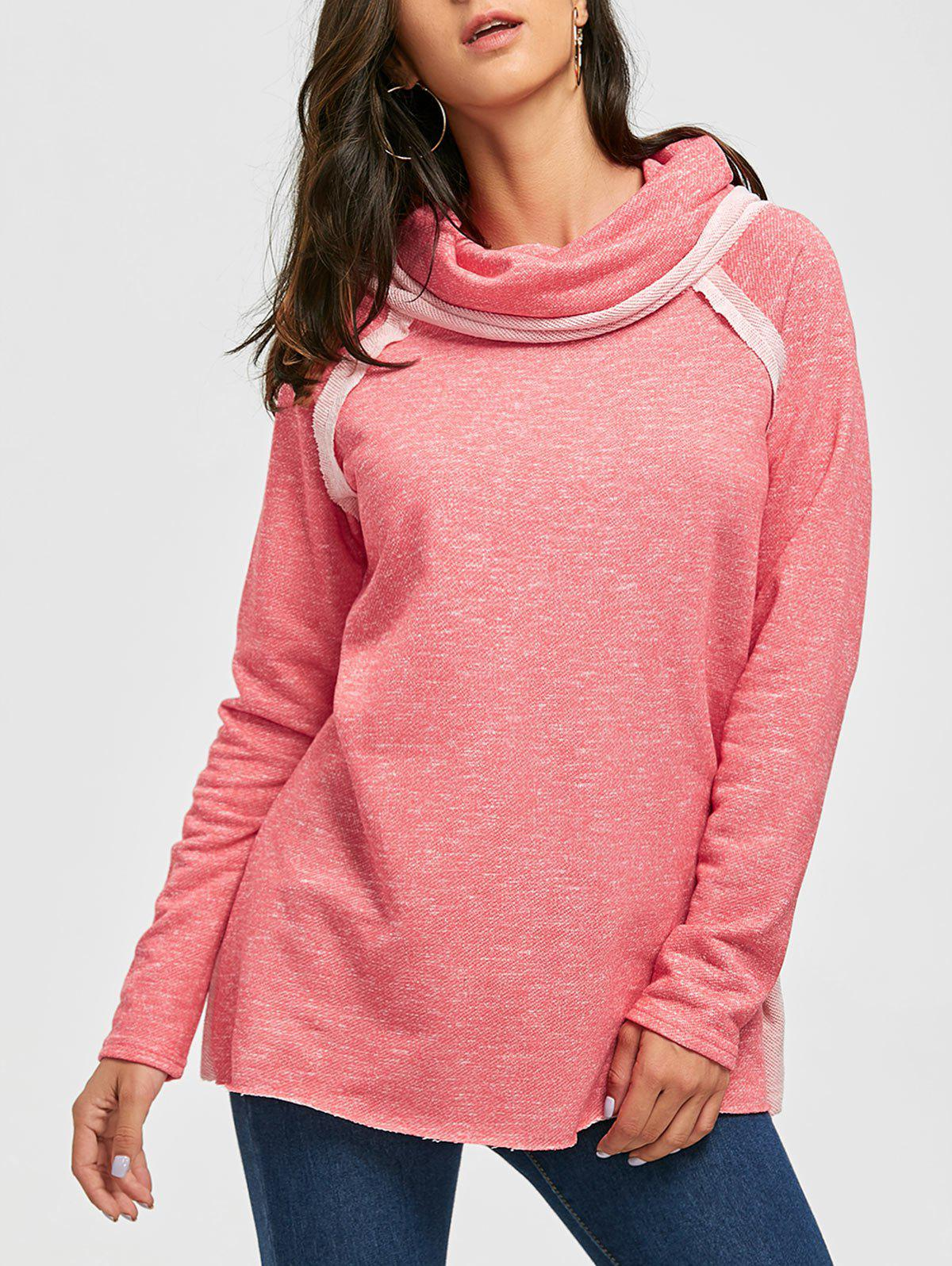 Cowl Neck Loose Fitting Raglan Sweat à manches - ROSE PÂLE 2XL