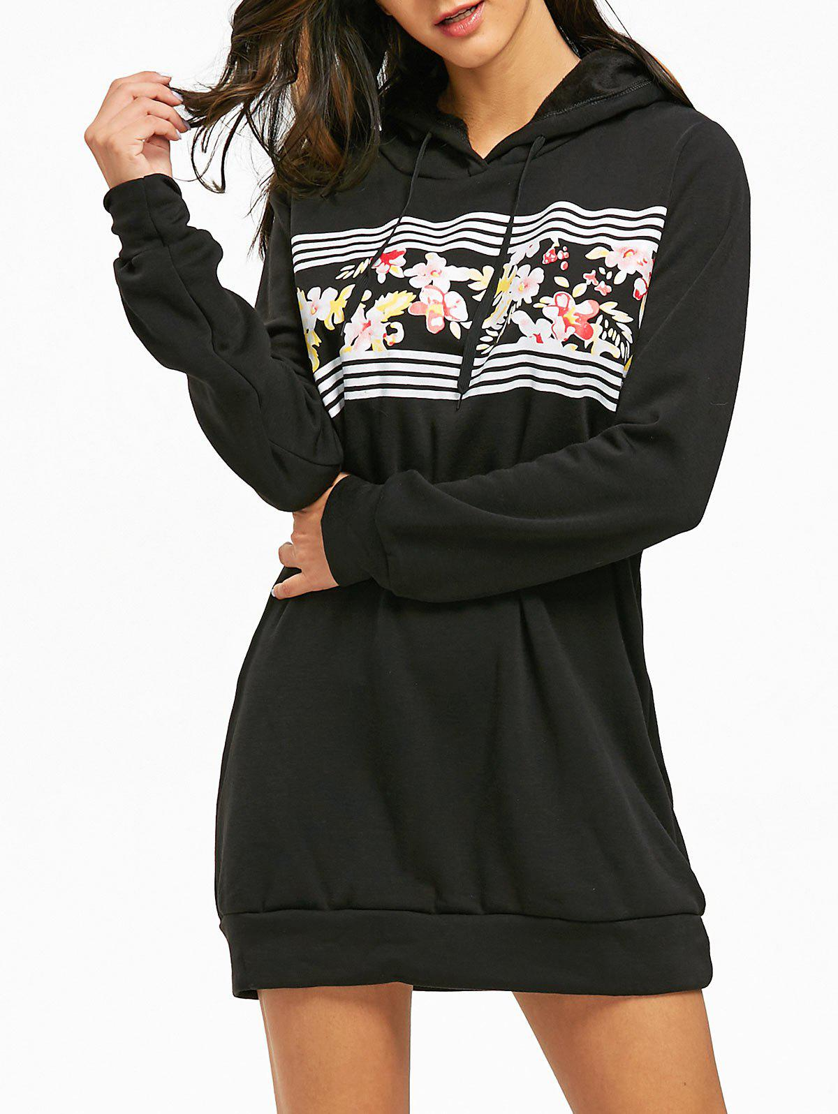 Flocking Floral Print Mini Hoodie Dress - BLACK M