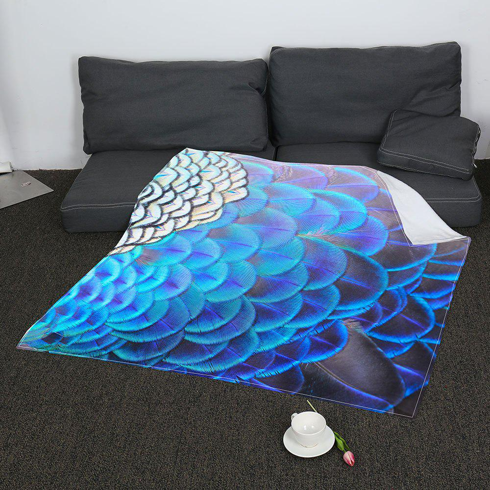 Feathers Printed Coral Fleece Soft Blanket - COLORFUL W59 INCH * L79 INCH