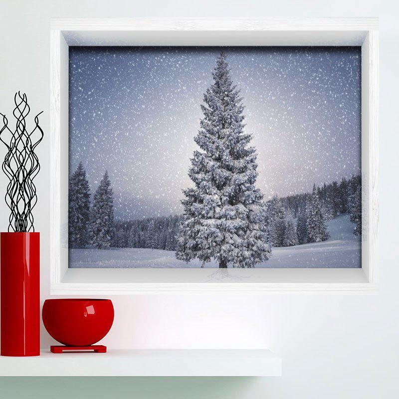 Multifunction 3D Christmas Tree Print Stick-on Wall Art Painting - GRAY