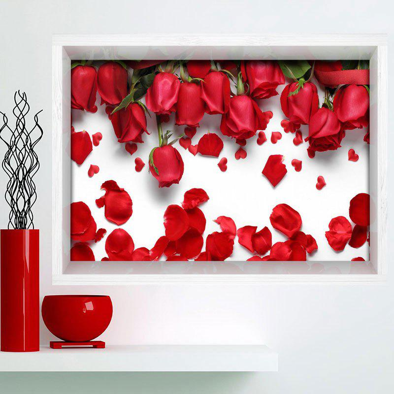 3D Rose Print Stick-on Multifunction Wall Art Painting - ROSE MADDER