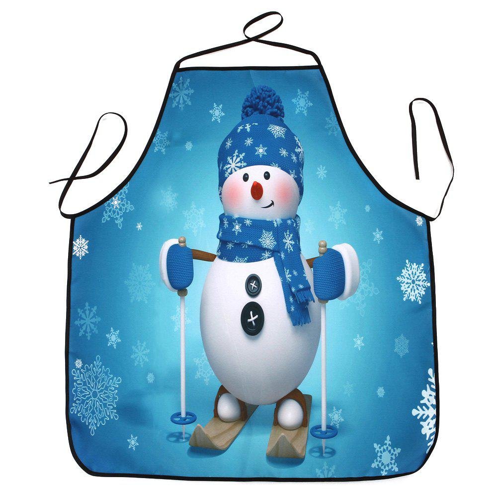 Christmas Snowman Print Waterproof Apron - TURQUOISE 80*70CM