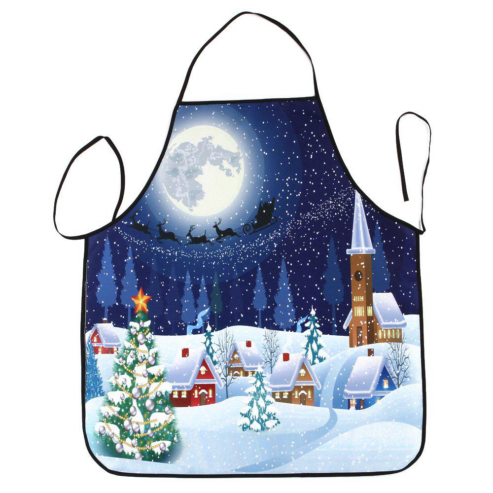 Christmas Night Village Print Waterproof Apron - COLORMIX 80*70CM