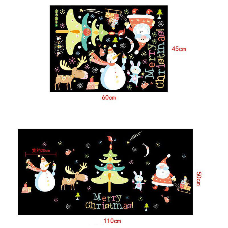 Christmas Santa Tree Pattern Wall Art Stickers - COLORMIX 45*60CM