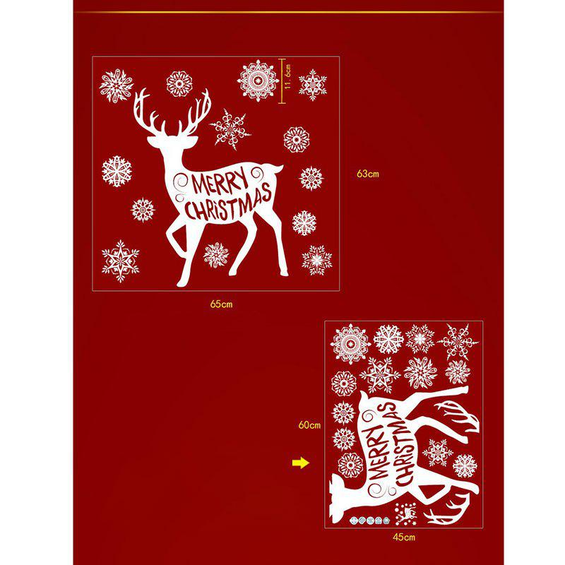 Christmas Deer Snoaflakes Pattern Wall Stickers - WHITE 45*60CM