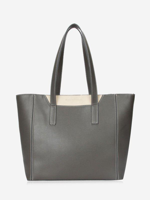 Color Block Faux Leather Shoulder Bag - GRAY