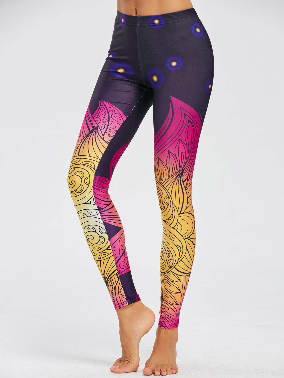 Print Skinny Leggings - multicolorcolore S