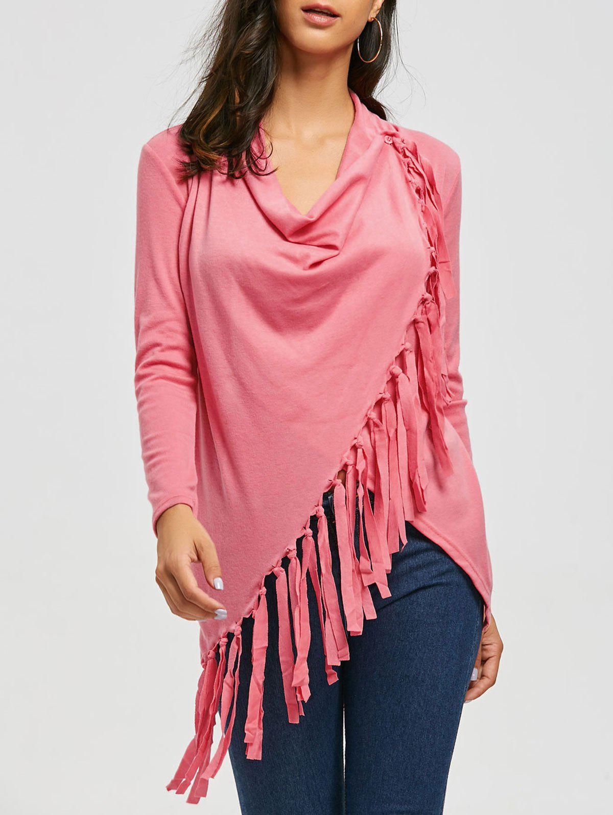 Asymmetric Long Sleeve Tassel Top - PINK XL