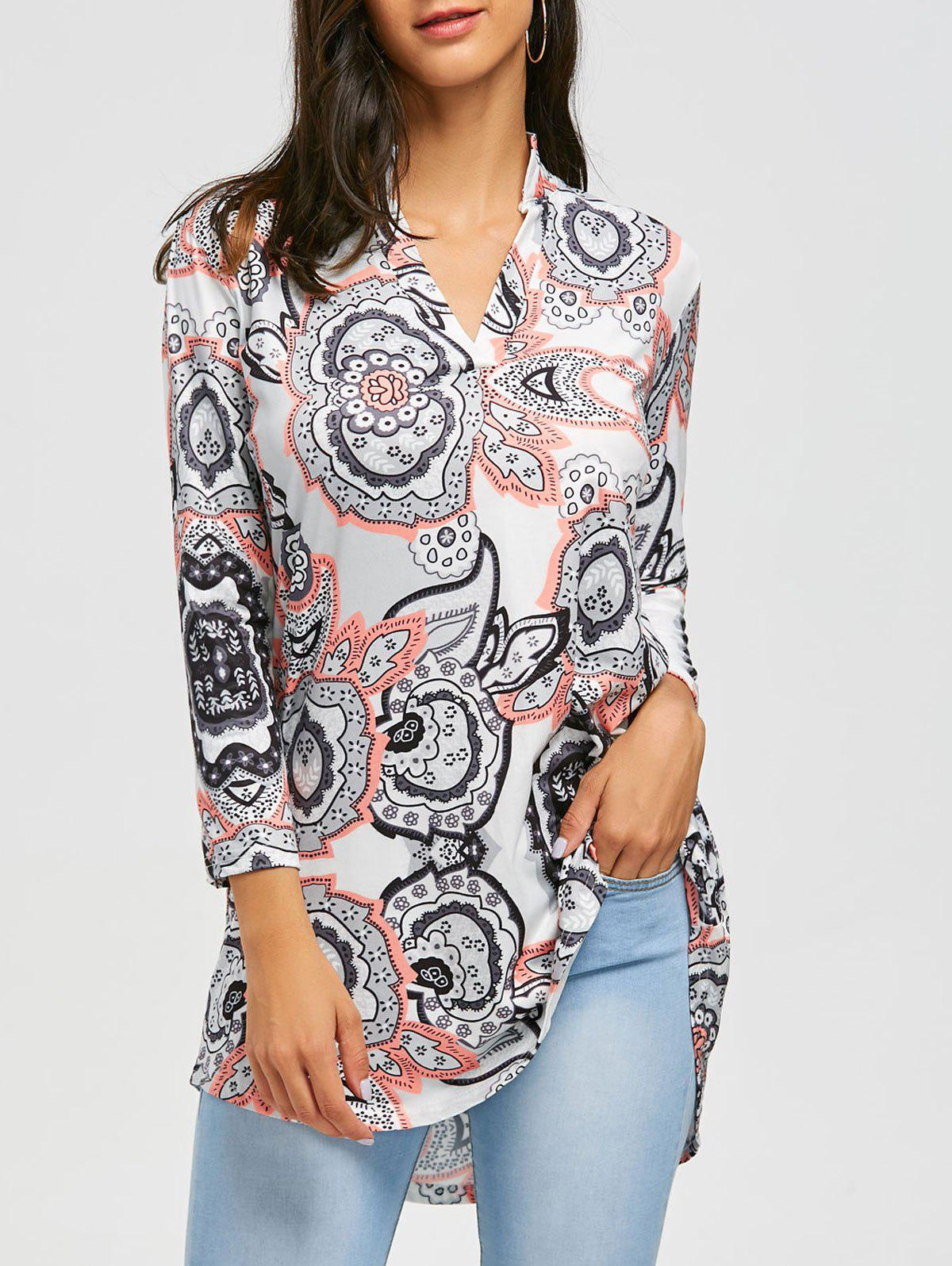 V Neck Bohemian Print Blouse - GRAY M