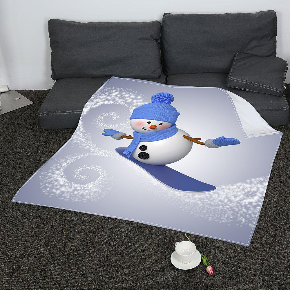 Christmas Skateboard Snowman Pattern Soft Coral Fleece Blanket - GRAY/BLUE W31 INCH*L59 INCH