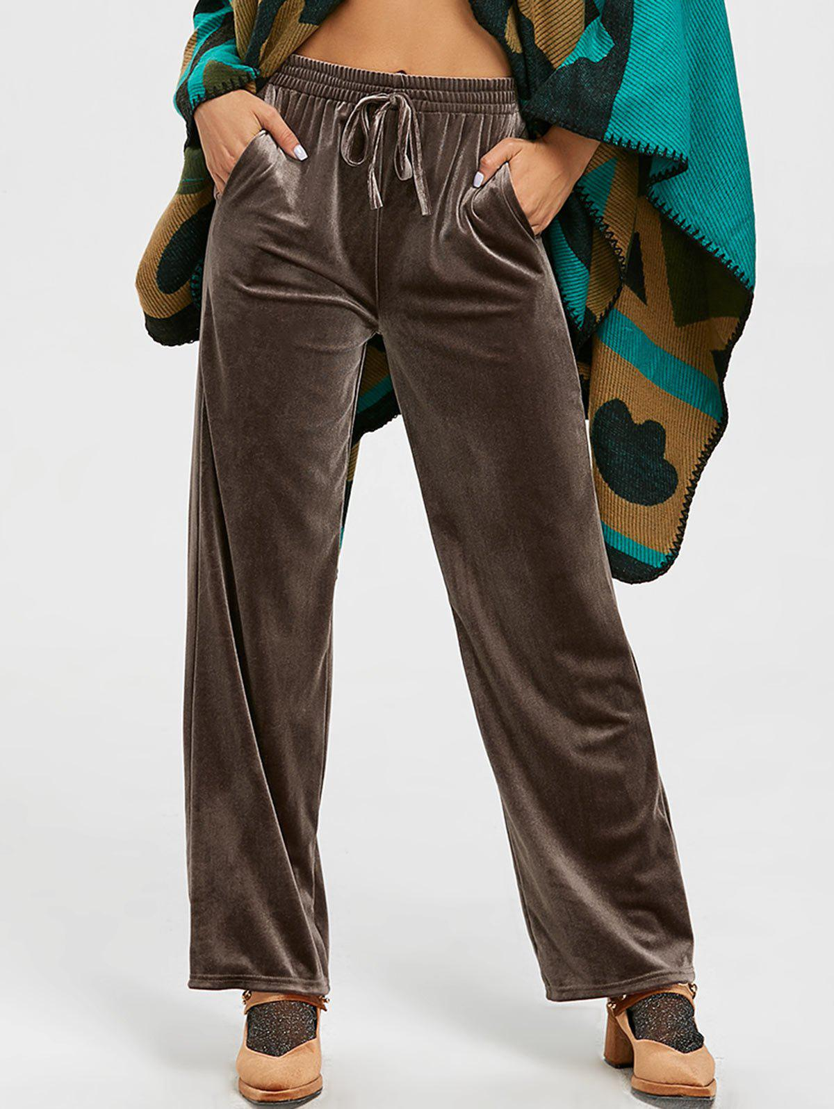 Velvet High Waisted Wide Leg Pants - COFFEE S