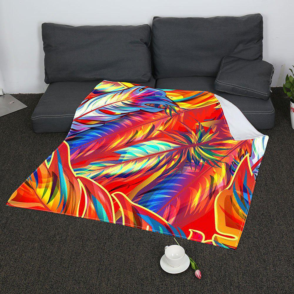 Colorful Feathers Printed Coral Fleece Blanket - COLORFUL W47INCH*L59INCH