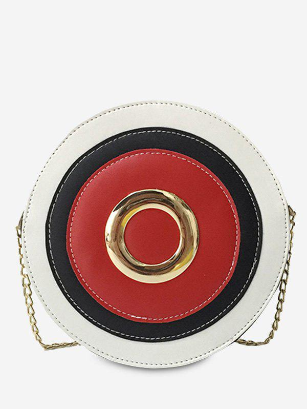 Color Block Grommet Chain Crossbody Bag - RED