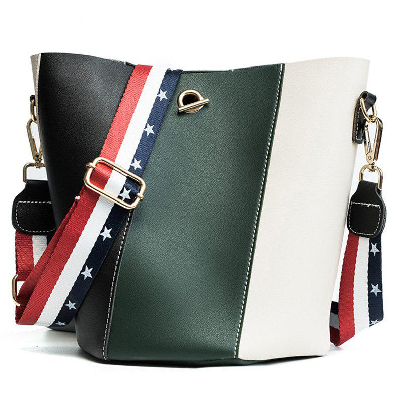 Stars Color Block Crossbody Bag Set - GREEN