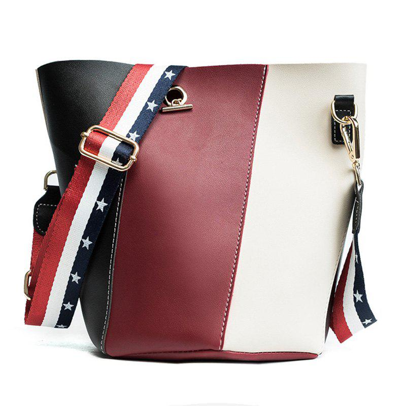 Stars Color Block Crossbody Bag Set - RED