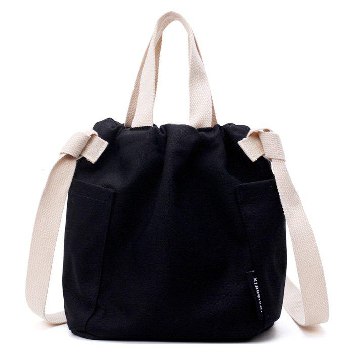 Pockets Drawstring Convertible Canvas Bag - BLACK