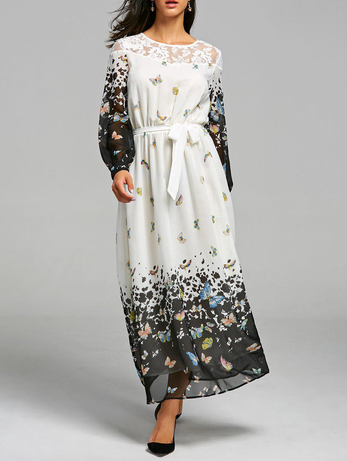 Lace Insert Butterfly Print Maxi Dress - WHITE L