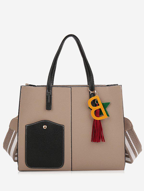 2 Pieces Tassel Letter Handbag Set - APRICOT