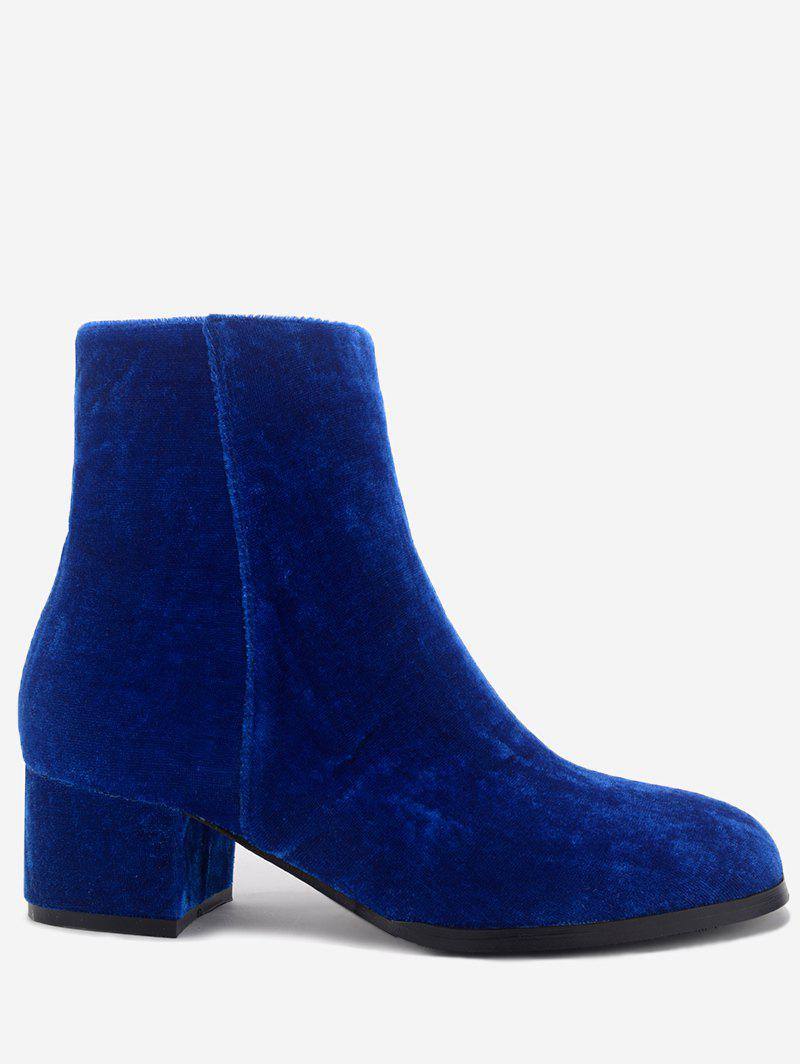Almond Toe Side Zip Velvet Ankle Boots almond toe block heeled ankle boots