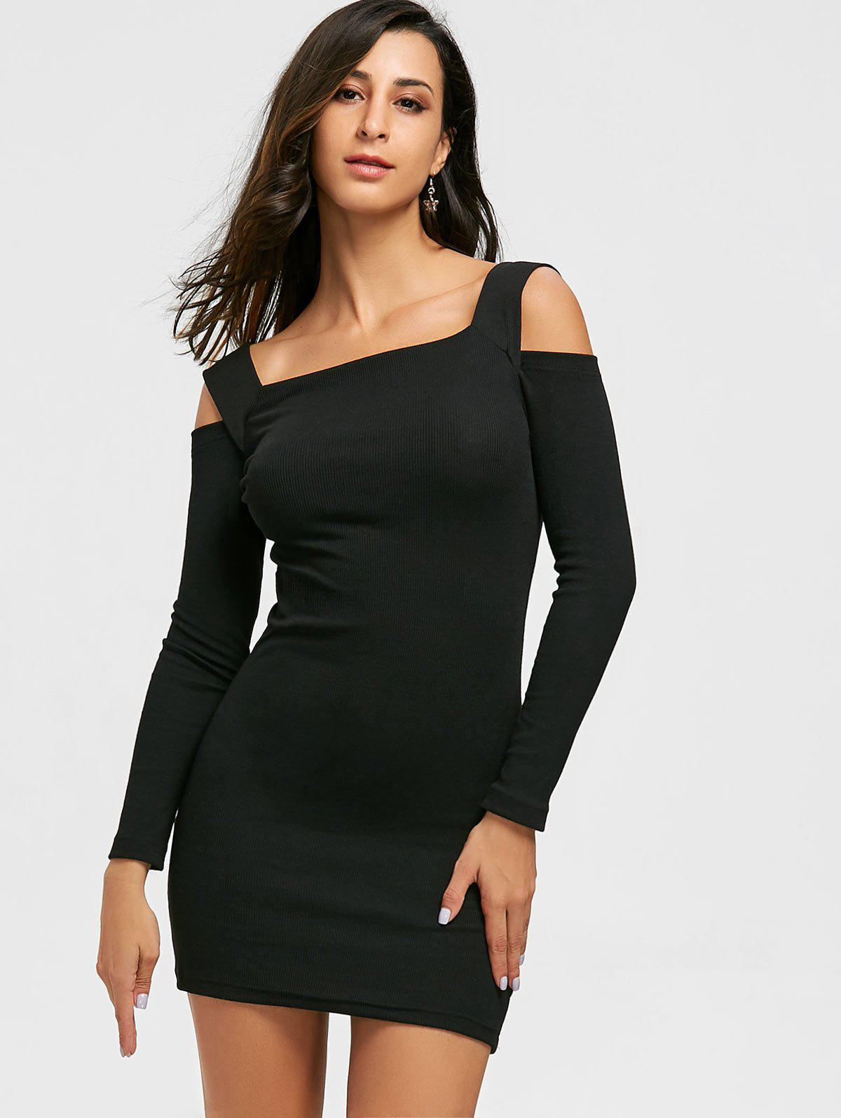 Cold Shoulder Bodycon Mini Sweater Dress - BLACK L