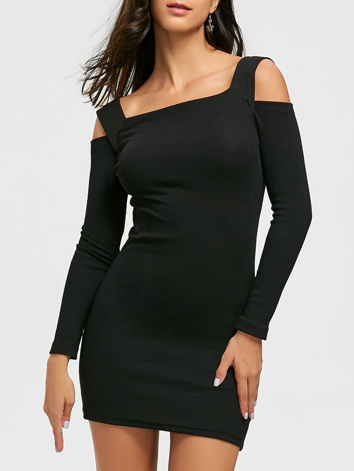 Cold Shoulder Bodycon Mini Sweater Dress - BLACK 2XL