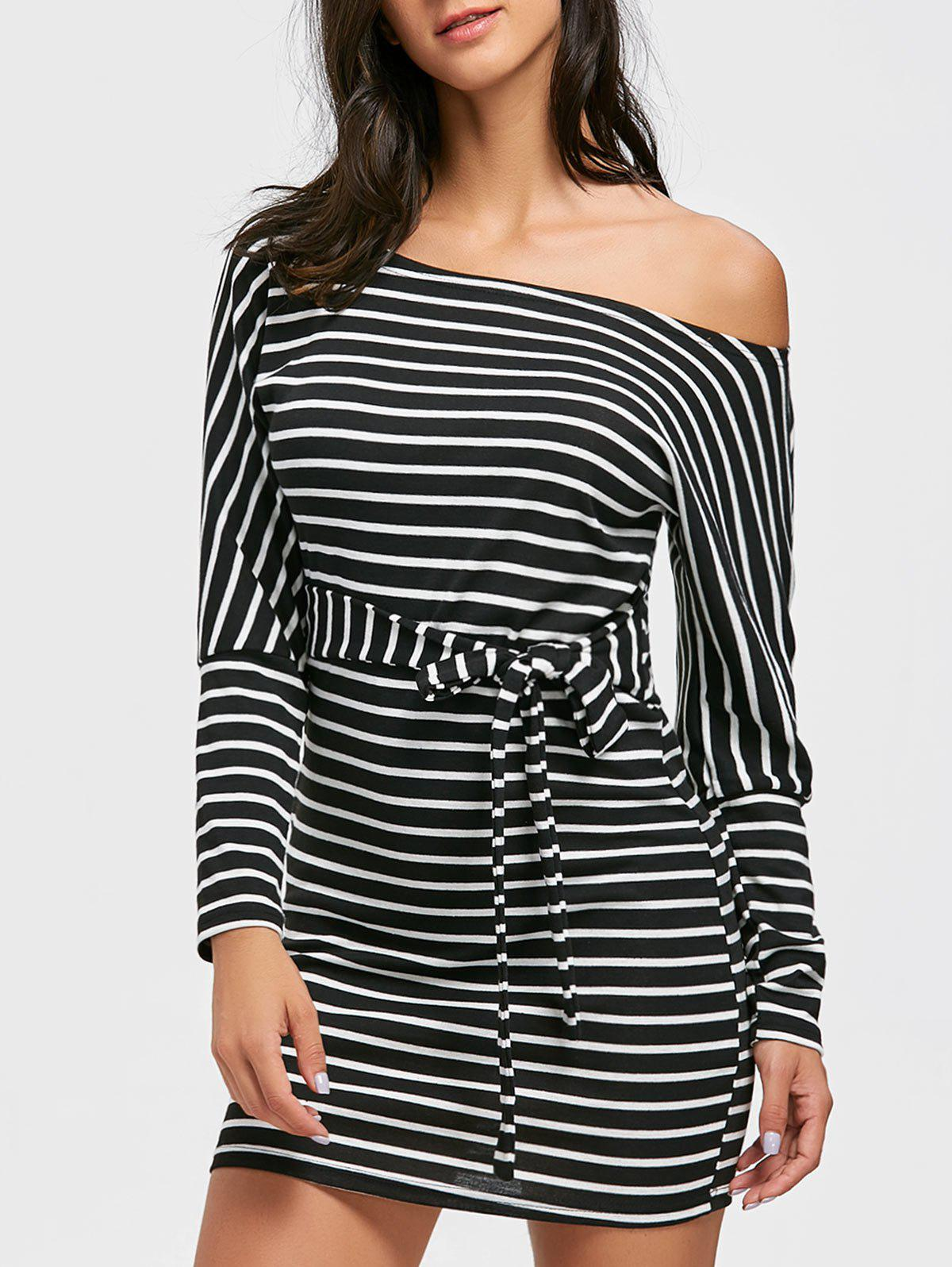 Skew Neck Striped Mini Bodycon Dress - BLACK S