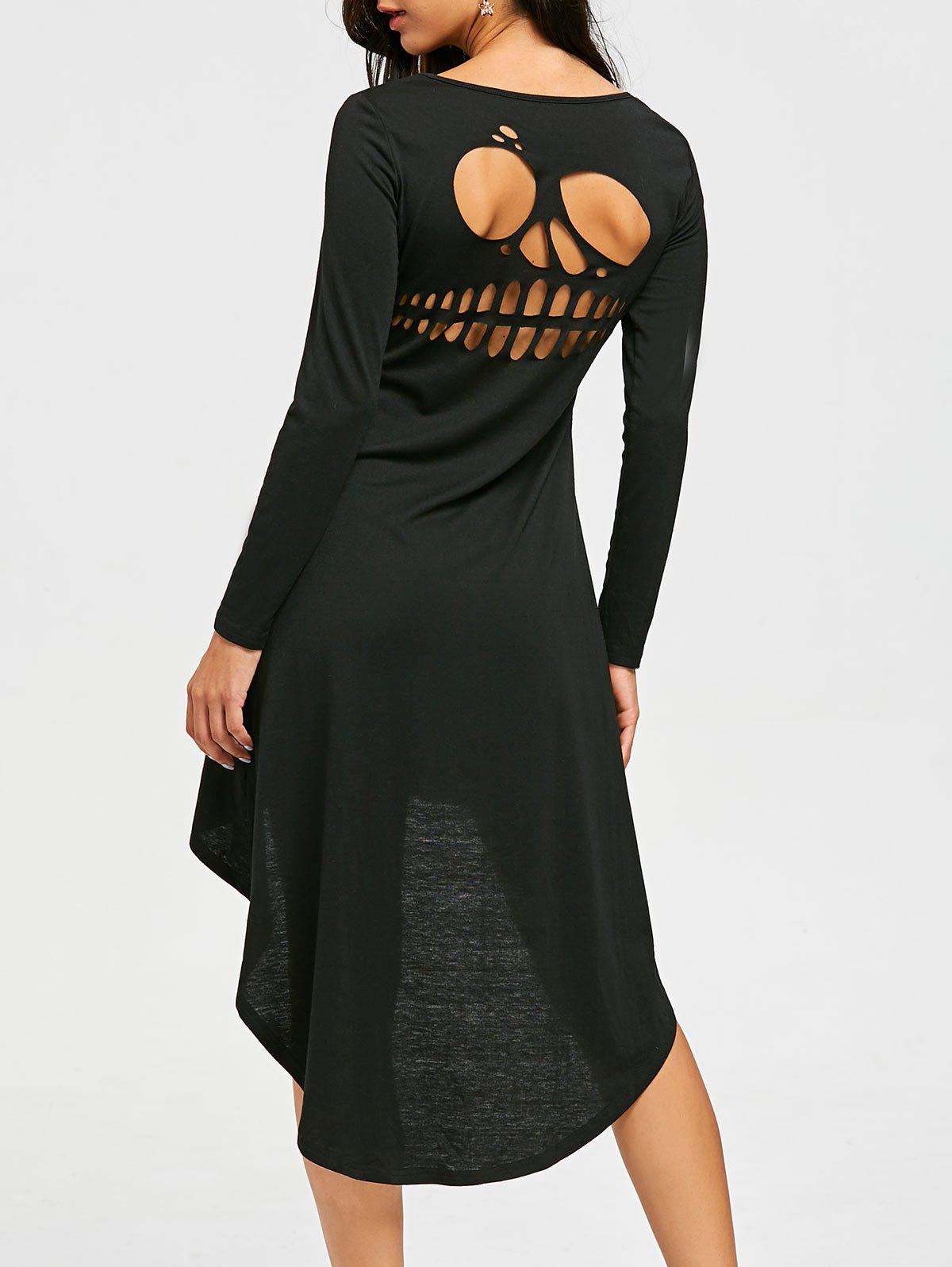 Halloween Cut Out Skull High Low Dress - BLACK 2XL