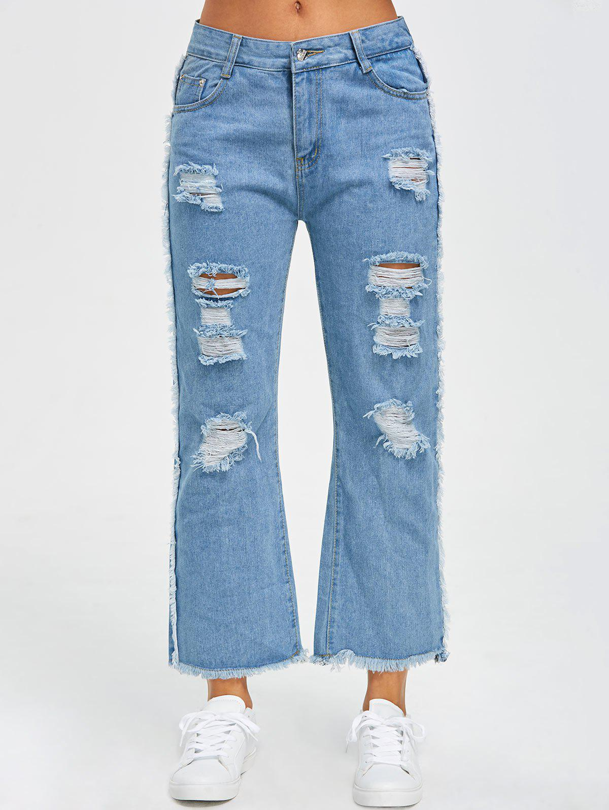 Ripped Raw Hem Wide Leg Jeans
