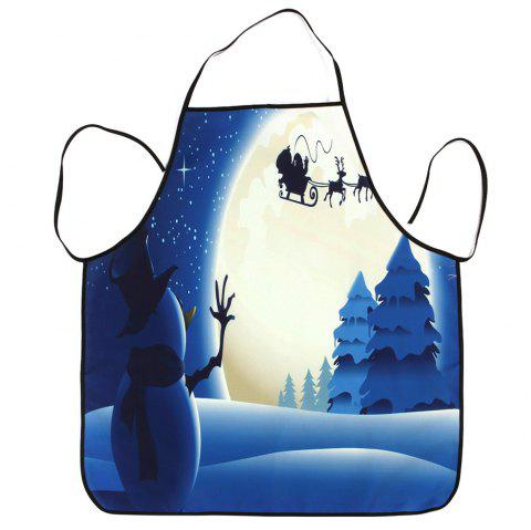 Christmas Snowman Moon Waterproof Cooking Apron - BLUE 80*70CM