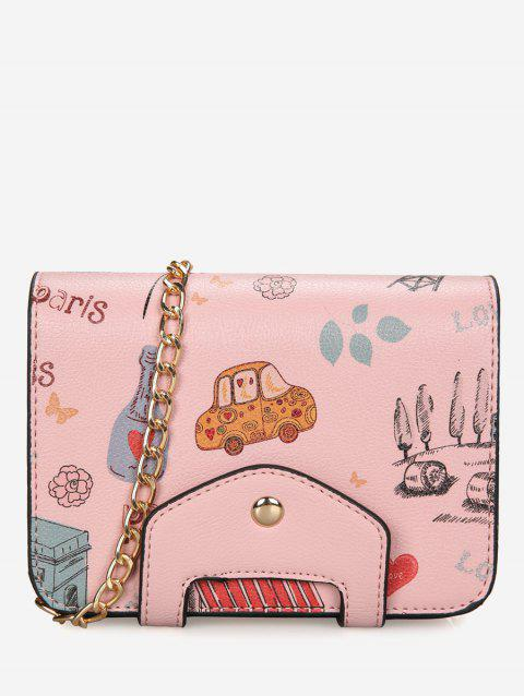 Patchwork Print Chain Crossbody Bag - PINK