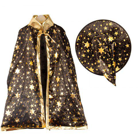 Halloween Party Cosplay Costume Wizard Witch Stars Cloak and Hat for Children - Noir