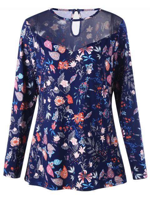 Plus Size Plant Print Long Sleeve T-shirt - FLORAL XL