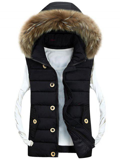 Zipper Up Detachable Hood Padded Vest - BLACK M