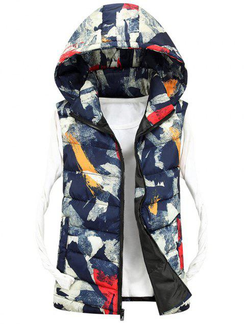 Zipper Up Hooded Camo Quilted Vest - DEEP BLUE 2XL
