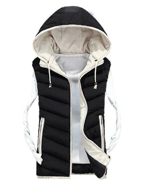 Zipper Up Detachable Hood Quilted Vest - BLACK XL
