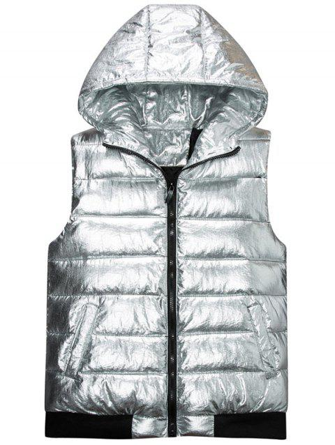 Zipper Up Metallic Color Hooded Quilted Vest - SILVER 3XL
