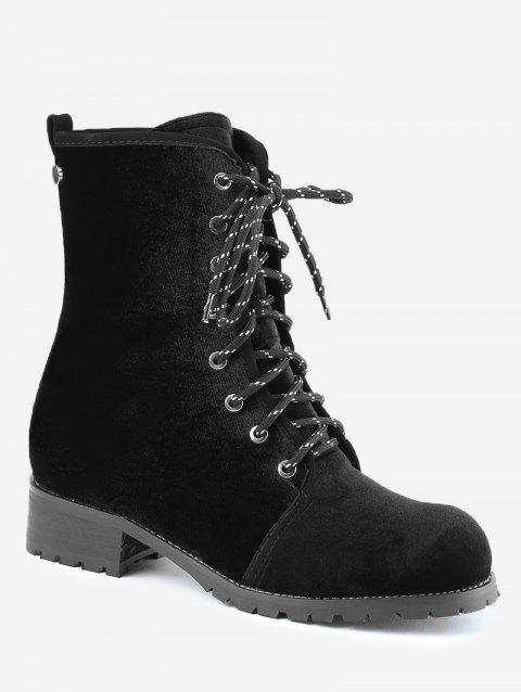 Low Heel Rivets Lace Up Boots - BLACK 39