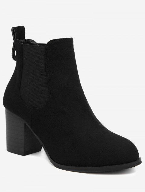 Chunky Heel Elastic Band Ankle Boots - BLACK 36