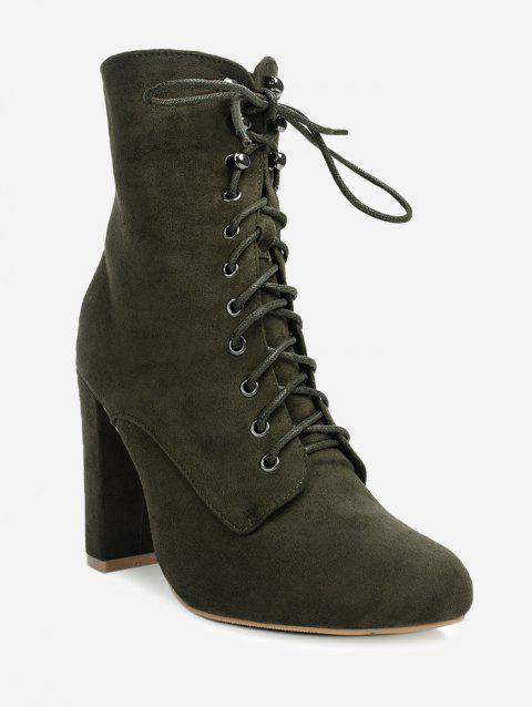Lace Up Chunky Heel Ankle Boots - GREEN 39