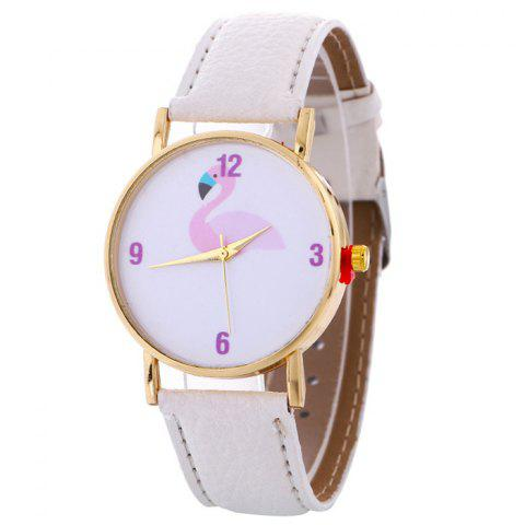 Flamingo Face Faux Leather Watch - WHITE