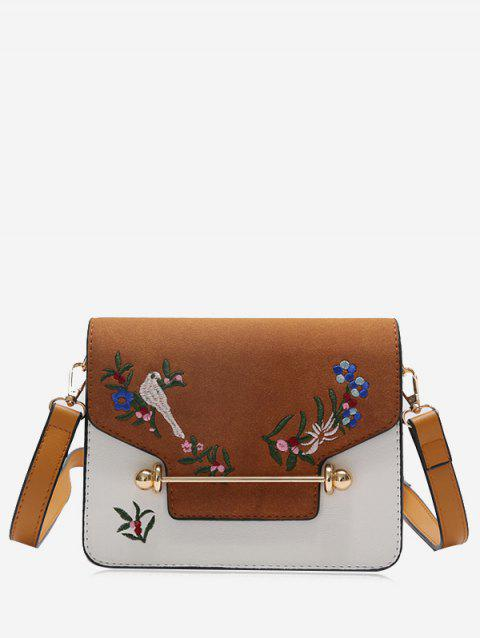 Embroidery Birds Flower Crossbody Bag - BROWN