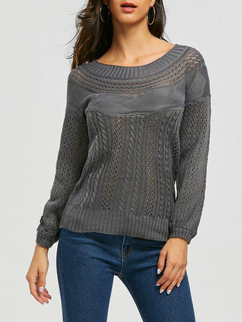 Chic Long Sleeve Boat Neck Pure Color Women's Sweater - GRAY M