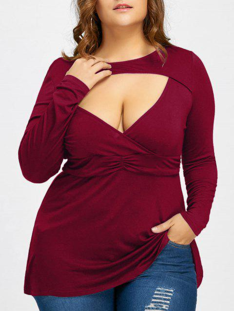 Empire Waist Plus Size Cut Out T-shirt - WINE RED 2XL