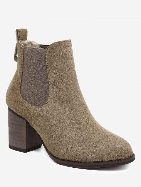 Chunky Heel Elastic Band Ankle Boots - BROWN 39