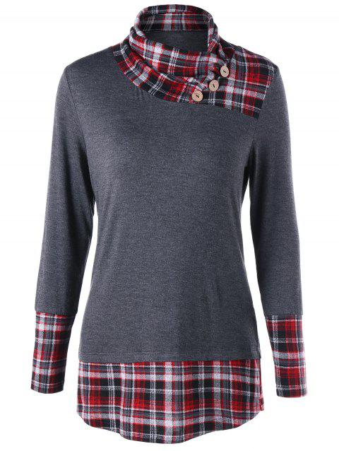 Plaid Trim Tunic Top - GRAY L