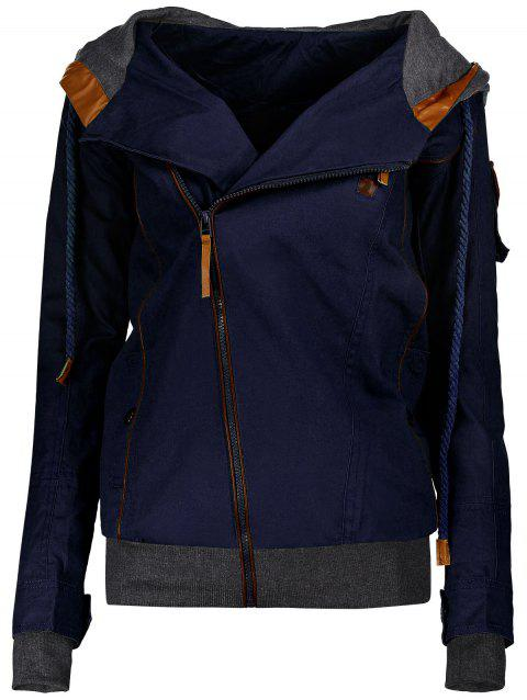 Charming Hooded Skew Zippered Long Sleeve Thick Hoodie For Women - DEEP BLUE S