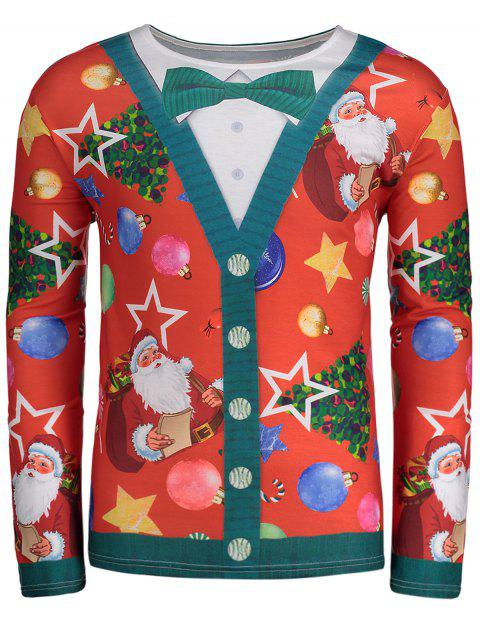Allover Santa Clause Christmas Long Sleeve Tee - RED L